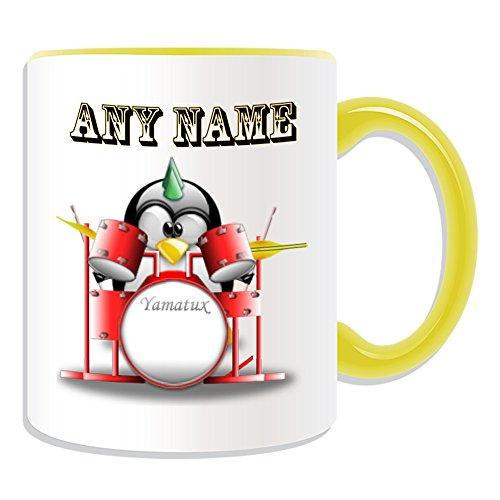 Personalisiertes Geschenk–Punk Drums Set Tasse (Design Pinguin in Kostüm Thema, Farbe Optionen)–alle Nachricht/Name auf Ihre einzigartige, keramik, Gelb