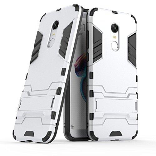 Funda para Xiaomi Redmi 5 Plus (5,99 Pulgadas) 2 en 1 Híbrida Rugged Armor Case Choque Absorción Protección Dual Layer Bumper Carcasa con pata de Cabra (Plateado)