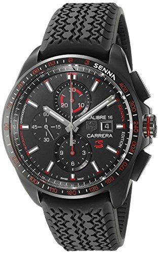 TAG Heuer - Reloj suizo deportivo «Carrera Senna» automático de titanio y goma para hombres, color negro (modelo: CBB2080.FT6042)