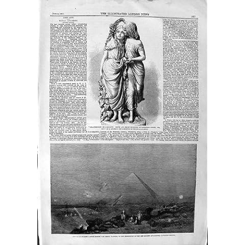 Impresión Antigua de la Estatua 1859 de Gathorne de los Niños de Egipto Edith Emily de la Pirámide