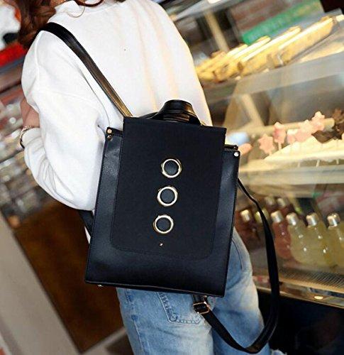 QPALZMWomen PU-Leder-Rucksack Vintage College School Rucksack-Tasche Einfache Mattierte Reisetasche Black