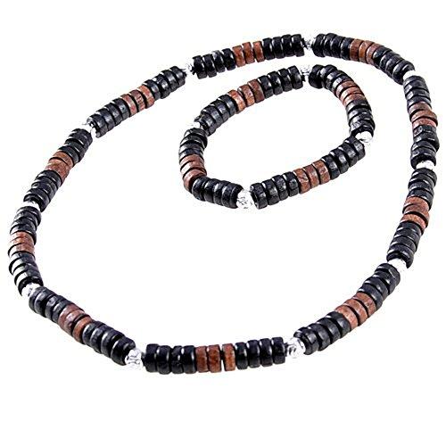 Halskette und Armband mit Echtholzperlen im Surfer Style