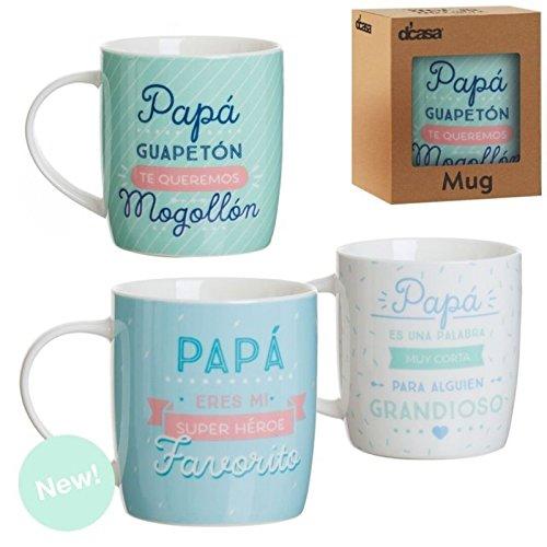 Dcasa - Set 3 taza ceramica PAPÁ regalo original para dia padre