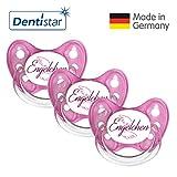 Dentistar® Schnuller 3er Set - Nuckel Silikon in Größe 1 von Geburt an, 0-6 Monate - zahnfreundlich & kiefergerecht - Beruhigungssauger für Babys - Pink Engelchen