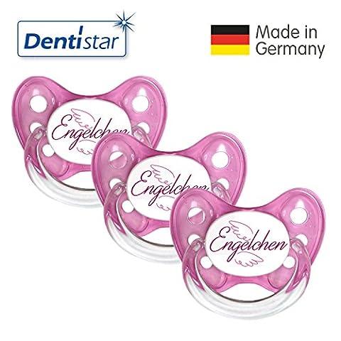 Dentistar® 3er Set Silikon-Schnuller - Größe 1 von Geburt an, 0-6 Monate - Nuckel zahnfreundlich & weich für neugeborene Babys, Pink