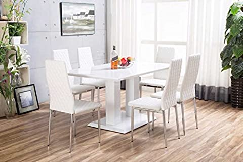 New Imperia White High Gloss Dining Table Set And 6 Chrome Faux Leather Hatched Dining Chairs (6