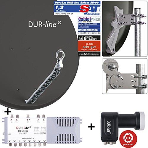 DUR-line 8 Teilnehmer Set - Qualitäts-Alu-Satelliten-Komplettanlage - Select 85/90cm Spiegel/Schüssel Anthrazit + Multischalter + LNB - für 8 Receiver/TV [Neuste Technik, DVB-S2, 4K, 3D]