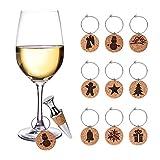 Aytai Christmas sughero per bicchieri da vino set 9PCS cocktail o vino vetro marcatori + 1PC tappo per bottiglia, regali per vacanze di Natale Decorazioni per feste