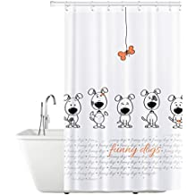 Tatkraft Funny Dogs Cortina Baño Tela 180X180 cm Impermeable Resistente al Moho con 12 Anillos