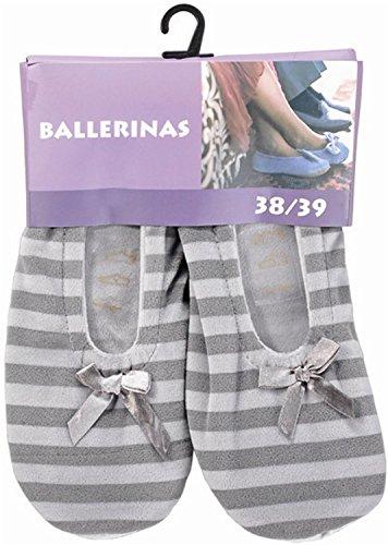 Damen Ballerinas mit echter Rindsledersohle als Hausschuh oder für leichten Sport Farbe Grau gestreift Größe 38/39