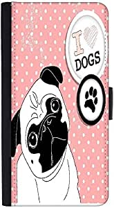 Snoogg I Love Pugs Cute Little Pug On Polka Dot Background Graphic Snap On Ha...