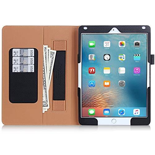 FYY iPad Pro 9.7 Hülle, Hochwertige Kunstleder Hülle mit elastitcher Handschlaufe und Halterungen für Karten, Notizen für iPad Pro 9.7(2016 Edition),Schwarz (mit automatischer Schlaf/Weck-Funktion) - Deckel Brief-fach