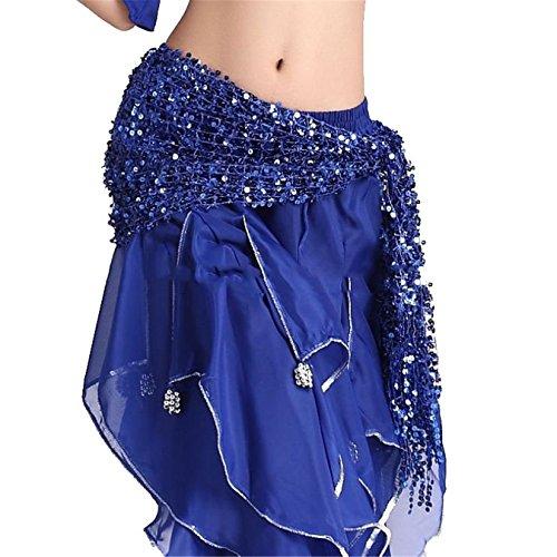 Dance Accessories Tribal Womens Danse du ventre costume Hip écharpe Hip jupe Sequins Costume Dark Blue