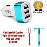 #10: captcha 3-Port USB Car Charger With USB FAN Port (Assorted Color) with FREE GIFT