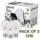 PACK VON 3 12W AUROLITE LED Birnen, A60 12W E27 Tageslicht 6500K LED LAMPEN, Packung 3, LED ES Globe Edison Schraubbirne, Ultra Bright 960LM, 75Watt Glühlampen gleichwertig