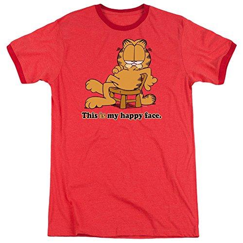Garfield Das glückliche Gesicht-Wecker-T-Shirt der Männer, X-Large, Red