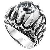 MunkiMix Edelstahl Ring Silber Ton Schwarz Grau Weiß Totenkopf Schädel Drachen Klaue Böse Evil Teufel Eye Auge Größe 67 (21.3) Herren