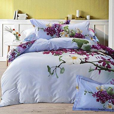 AIURLIFE 4 pieza pura del algodón única definición 3D estereoscópico flores imprimir ropa de cama Fundas Nordicas , queen