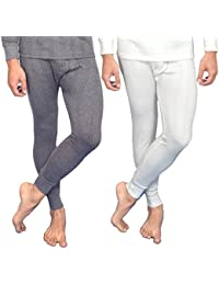 RedFort Men's White::Grey Thermal Bottom Pack of 2 White and Grey Color