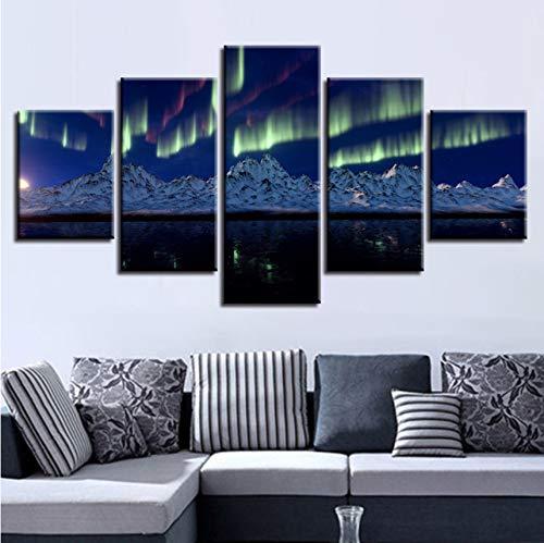 Leinwand Bilder 5 Stücke Bergsee Auroras Nachtszene Gemälde Wandkunst Dekor Für Wohnzimmer Moderne Drucke-350X250Cm ()