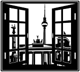 Wandtattoo Berlin Tor Skyline Window Fernseherturm Fenster Wand Aufkleber 5M169, Farbe:Schwarz Matt;Breite vom Motiv:60cm