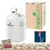 freelium go 250 - Helium / Ballongas To Go Flasche mit satten 0,25 m³ / 250 Liter + 50x Ballonband + Konfetti