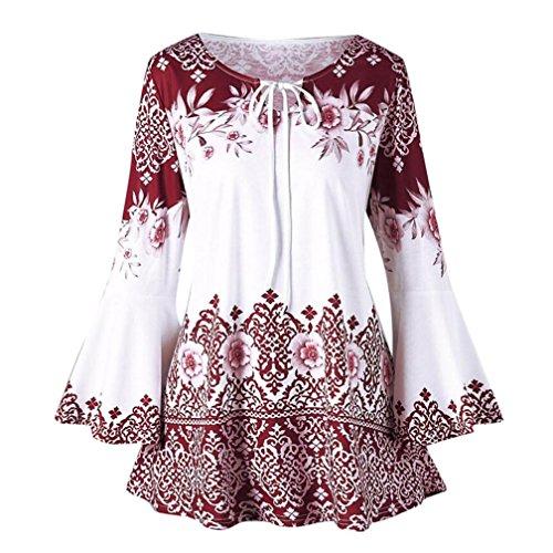 Moginp Damen Langarmshirt, Mode Frauen Plus Größe Gedruckt Flare Sleeve Tops Schnürung Schlüsselloch T-Shirts (L2, Rot)