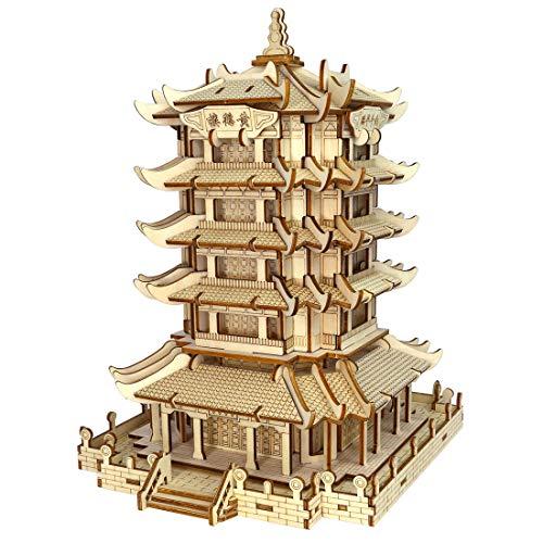 ZUJI 3D Puzzle Holz DIY Puzzle Modell de Antike Architektur Baustein und Konstruktion Spielzeug für Kinder und Erwachsene (Gelber Kranturm)