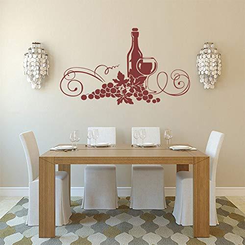 YuanMinglu Wine & Wine Gourmet Vinile Adesivo Murale Carta da Parati Staccabile Marrone 60x90cm