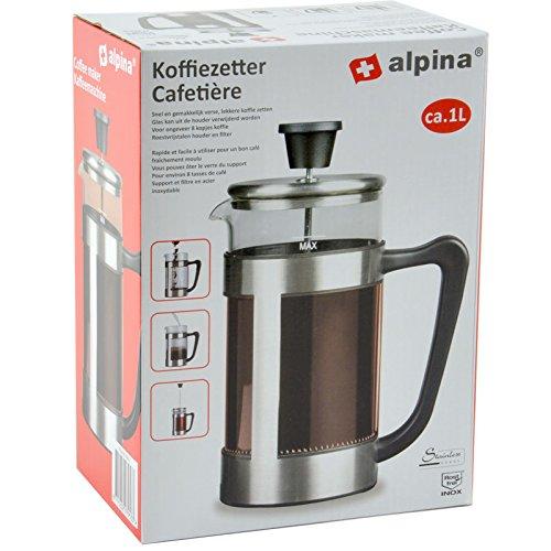 Cappuccino Maker 1 Lt in Acciaio e Vetro Teiera a Pistone Pressofiltro - Alpina