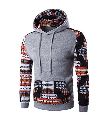 Herren Chic Casual Sweatshirts Mit Vordertaschen Kapuzenoberteile Kaputzenpulli für Herbst Winter (7-fleece-crewneck Top)