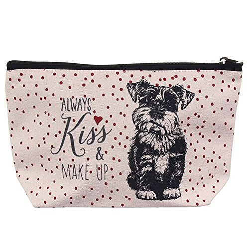 Schnauzer Dog Canvas Toiletry Wash Bag - Gift Bag Dog