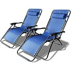 VOUNOT Lot de 2 Chaise Longue inclinable Chaise de Jardin Pliable en Textilène Chaise Longue avec Rembourrage de Tête Amovible | Charge Max 120KG | Taille Chaise déployée : 165 x 112 x 65cm