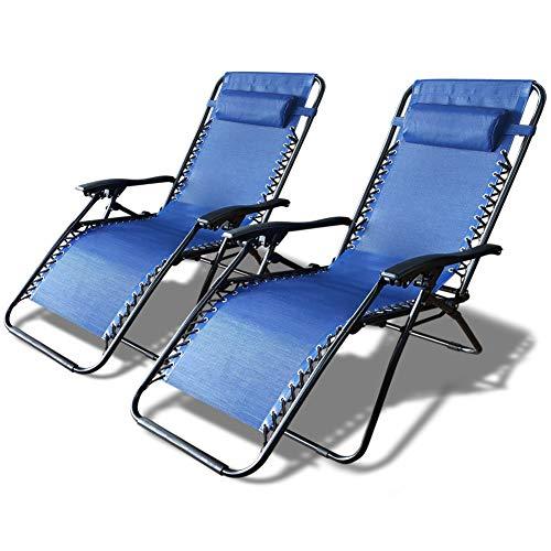Lot de 2 Chaise longue inclinable | Chaise de Jardin Pliable en Textilène | Chaise longue avec Rembourrage de Tête Amovible | Charge Max 120KG | Taille chaise déployée : 165 x 112 x 65cm | Bleu