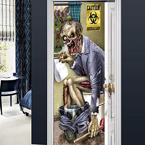Dekorative Wandaufkleber Halloween Beerdigung Tür Öffnen Kreative 3D Tür Paste Persönlichkeit Holz Tür Haus Renovierung Wandaufkleber (Beerdigung Die Vinyl)