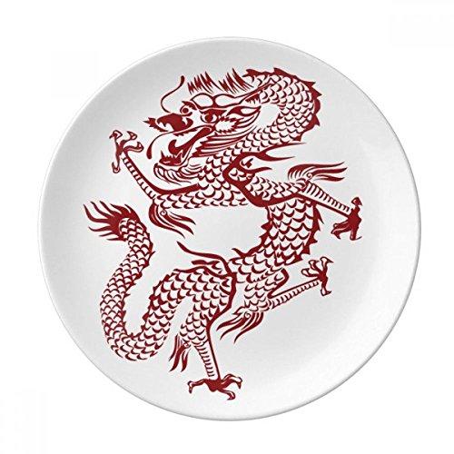 DIYthinker Chinesischer Drache Tier Porträt Dessertteller Zierporzellan 8-Zoll-Dinner Sterntseite 8 Zoll Duruchmesser Mehrfarbig (Chinesische Dessertteller)