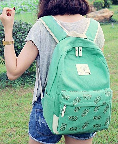 Tibes toile retro sac a dos sac a dos imprime ecole de mode Vert