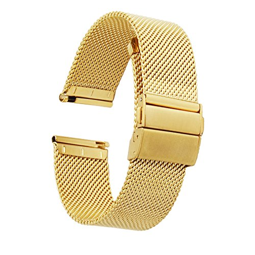 ZHUGE Unisex Mesh Edelstahl Uhrenarmband Doppel-Druckknopf Schnalle Mailänder Metallarmband Gold 18mm