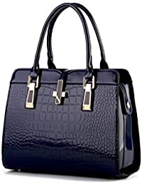 Di Grazia Women's Italian Handbag(Crocodile Pattern, Sapphire Blue Colour, Blue-Croc-Flap-Handbag)
