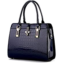 Di Grazia Women's Italian Handbag(Crocodile Pattern, Sapphire Blue Colour, Blue-Croc-Flap-Handbag)