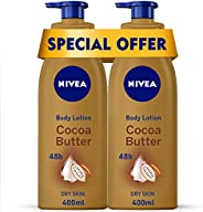 NIVEA Cocoa Butter Body Lotion, Vitamin E, Dry Skin, 2 x 400 ml