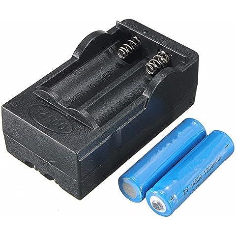 Nuovo 2X Elfeland 3.7V 1200mAh 14500batteria ricaricabile agli ioni di litio + caricatore doppio Smart