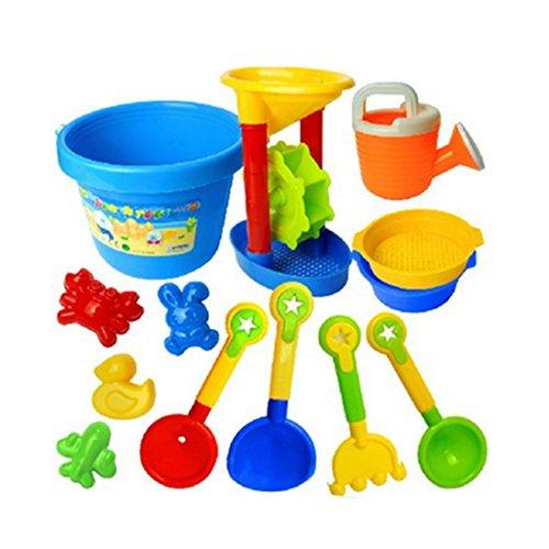 YAKOK Sandspielzeug, 13er Sandkasten Spielzeug Strandspielzeug Sand Spielzeug mit Eimer, Sandformen Schaufel für Baby, Kleinkinder, Kinder, Mädchen, Junge
