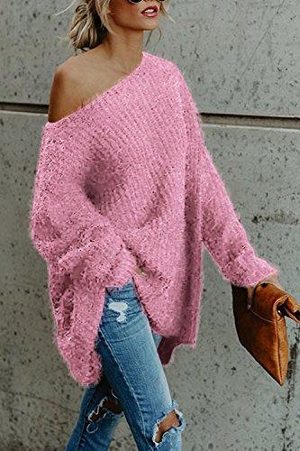 Lettre d'amour les Femmes UNE Épaule Baggy Streetstyle Automne - Hiver Chemise Gilet Sweat - Shirt Maxi pink