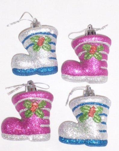 itter Stiefel Baubles - Weihnachtsbaum (Blau und silber) (Silber Glitter Stiefel)