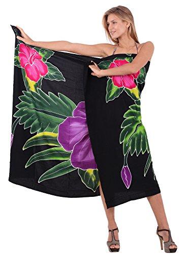 La-Leela-rayn-playa-zapato-mano-de-pintura-encubrir-bikini-de-78x43-pulgadas-pareo-negro