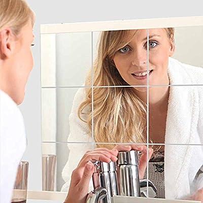 16 Stück Spiegelfliesen Selbstklebend, VIGORFUN Quadratischer Spiegel Wandspiegel