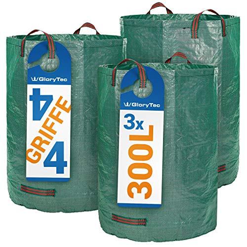 Glorytec Gartensack 3 x 300 Liter - mit doppeltem Boden - 4 reißfeste Griffe - Gartenabfallsack aus extrem robustem Polypropylen-Gewebe (PP) 150gsm (Große Säcke)