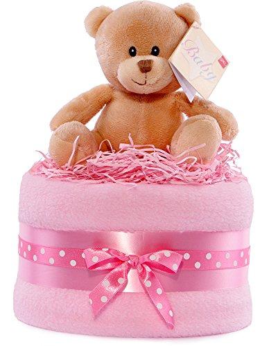 Tarta de pañales, diseño de oso, color plateado, rosa y blanco Niñas regalo a bebé cesta