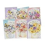 Sortierte Blumen-Gruß-Karten für alle Gelegenheit 6PCS